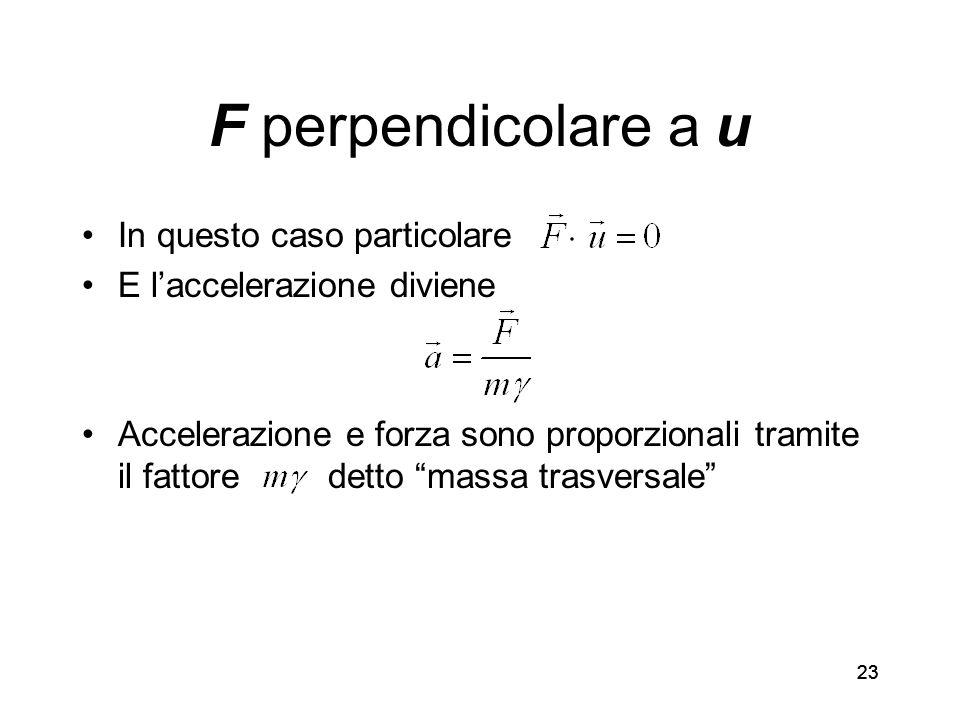 23 F perpendicolare a u In questo caso particolare E laccelerazione diviene Accelerazione e forza sono proporzionali tramite il fattore detto massa trasversale