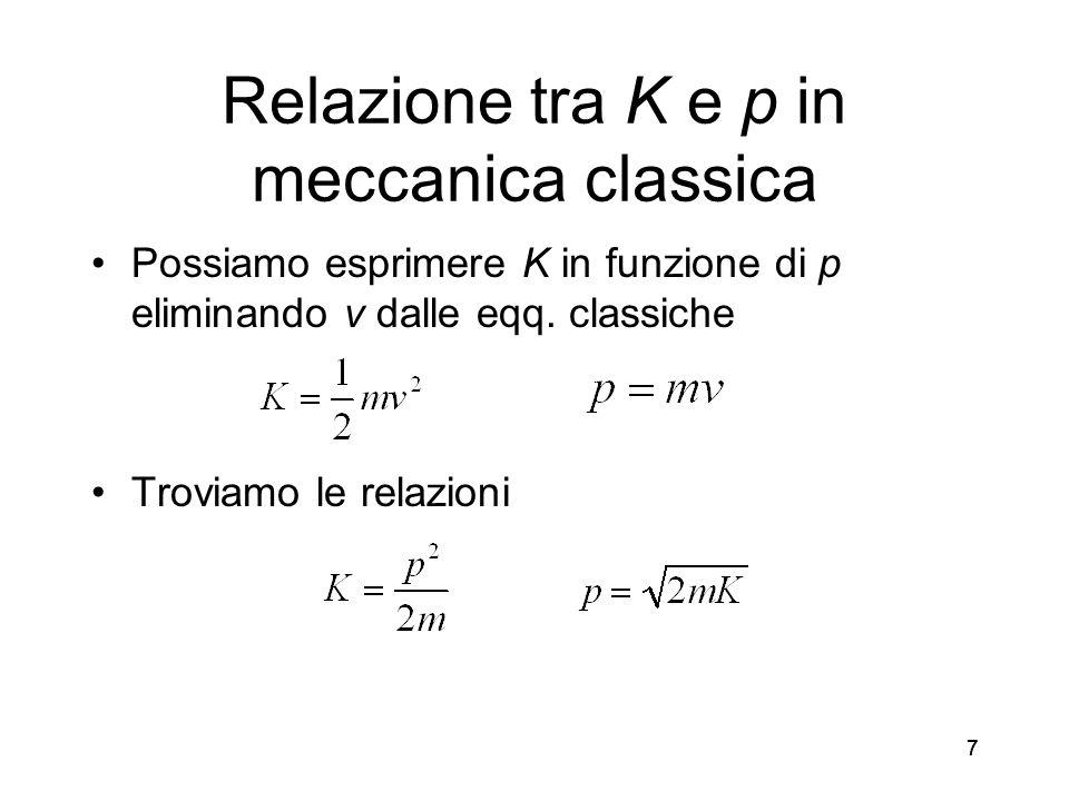 77 Relazione tra K e p in meccanica classica Possiamo esprimere K in funzione di p eliminando v dalle eqq. classiche Troviamo le relazioni 7