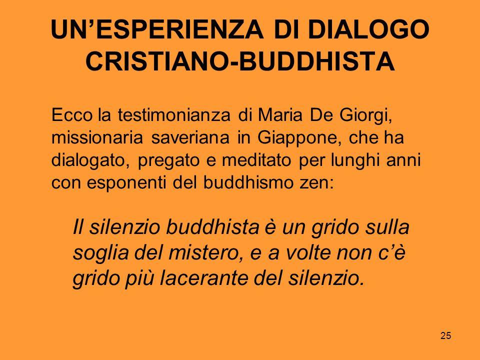 25 UNESPERIENZA DI DIALOGO CRISTIANO-BUDDHISTA Ecco la testimonianza di Maria De Giorgi, missionaria saveriana in Giappone, che ha dialogato, pregato