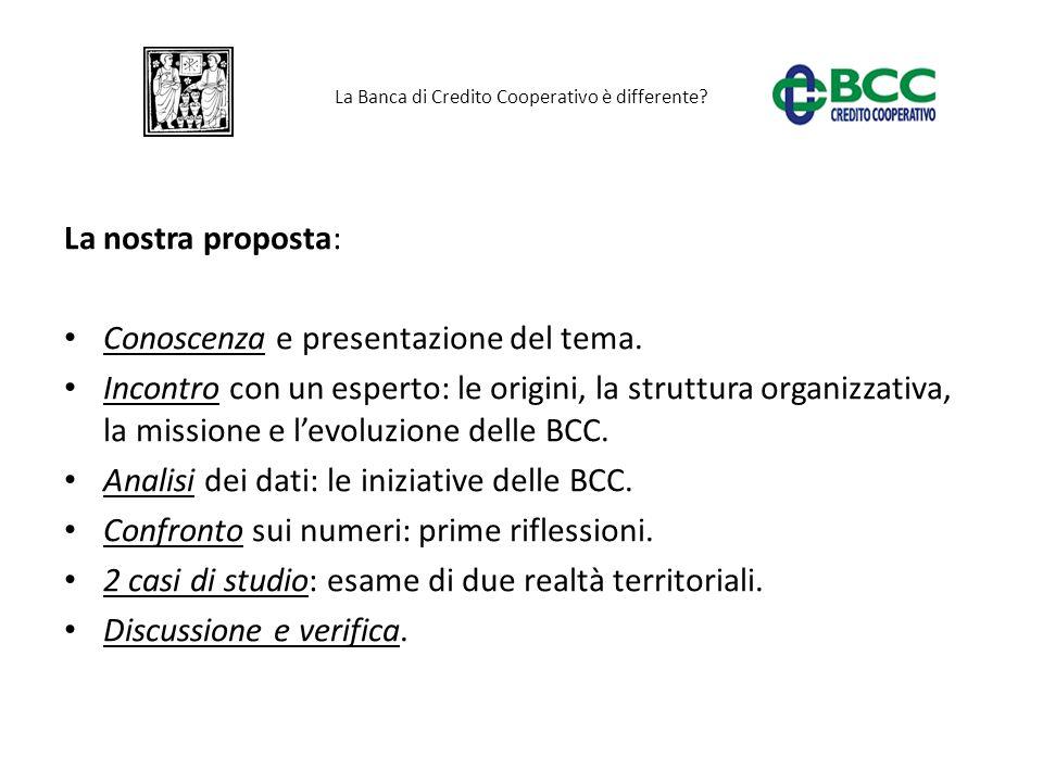 La Banca di Credito Cooperativo è differente? La nostra proposta: Conoscenza e presentazione del tema. Incontro con un esperto: le origini, la struttu