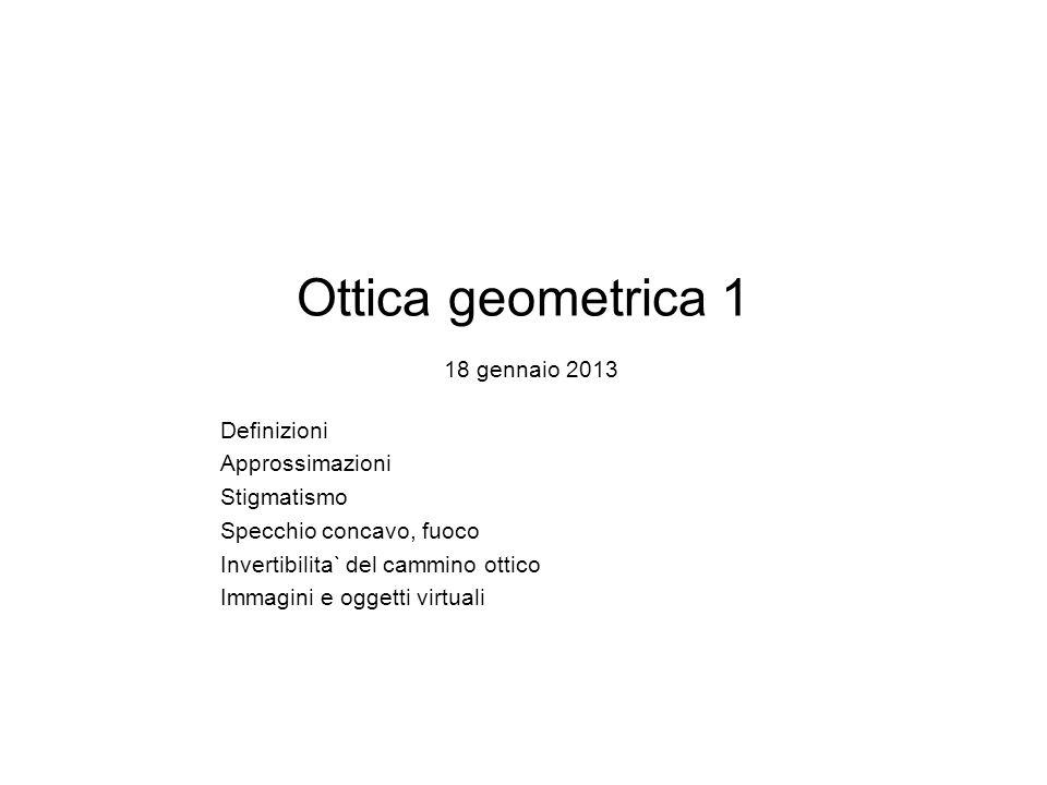 Ottica geometrica 1 18 gennaio 2013 Definizioni Approssimazioni Stigmatismo Specchio concavo, fuoco Invertibilita` del cammino ottico Immagini e ogget