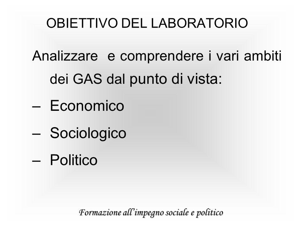 Formazione allimpegno sociale e politico Analizzare e comprendere i vari ambiti dei GAS dal punto di vista: –Economico –Sociologico –Politico OBIETTIVO DEL LABORATORIO