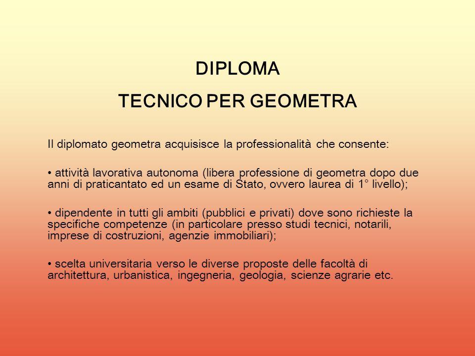 DIPLOMA TECNICO PER GEOMETRA Il diplomato geometra acquisisce la professionalità che consente: attività lavorativa autonoma (libera professione di geo