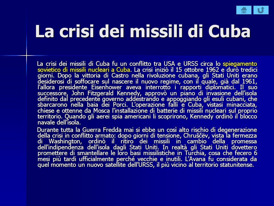 La crisi dei missili di Cuba La crisi dei missili di Cuba fu un conflitto tra USA e URSS circa lo spiegamento sovietico di missili nucleari a Cuba. La