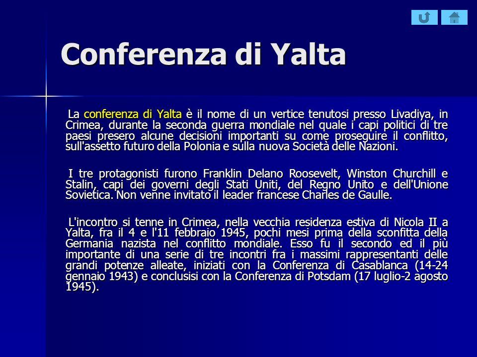 Conferenza di Yalta La conferenza di Yalta è il nome di un vertice tenutosi presso Livadiya, in Crimea, durante la seconda guerra mondiale nel quale i