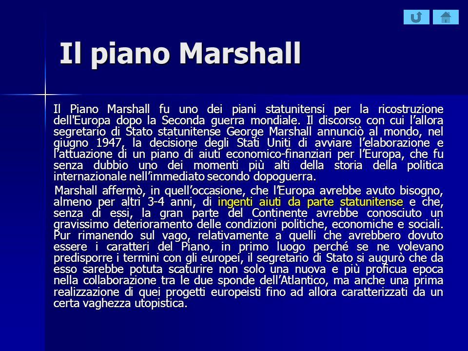 Il piano Marshall Il Piano Marshall fu uno dei piani statunitensi per la ricostruzione dell'Europa dopo la Seconda guerra mondiale. Il discorso con cu
