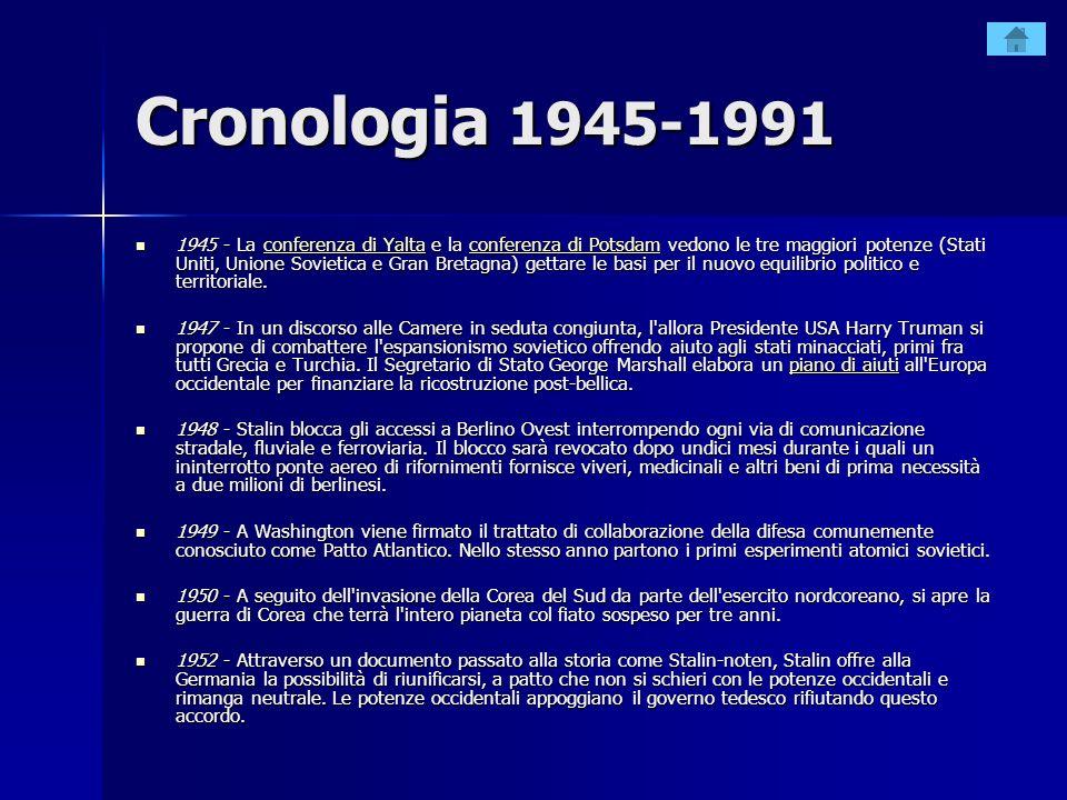 Cronologia 1945-1991 1945 - La conferenza di Yalta e la conferenza di Potsdam vedono le tre maggiori potenze (Stati Uniti, Unione Sovietica e Gran Bre