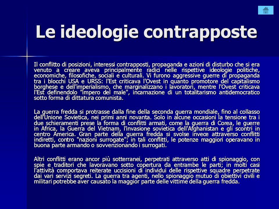 Le ideologie contrapposte Il conflitto di posizioni, interessi contrapposti, propaganda e azioni di disturbo che si era venuto a creare aveva principa