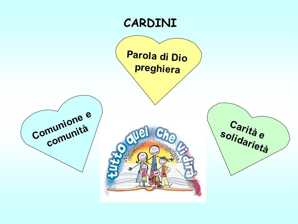 CARDINI Comunione e comunità Carità e solidarietà Parola di Dio preghiera
