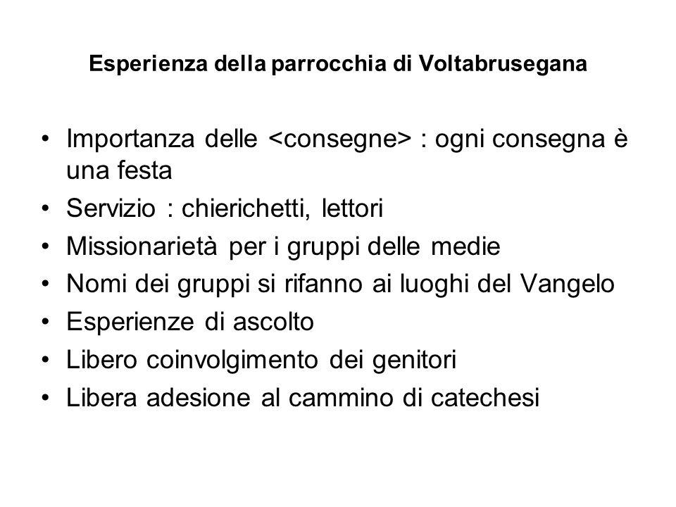 Esperienza della parrocchia di Voltabrusegana Importanza delle : ogni consegna è una festa Servizio : chierichetti, lettori Missionarietà per i gruppi