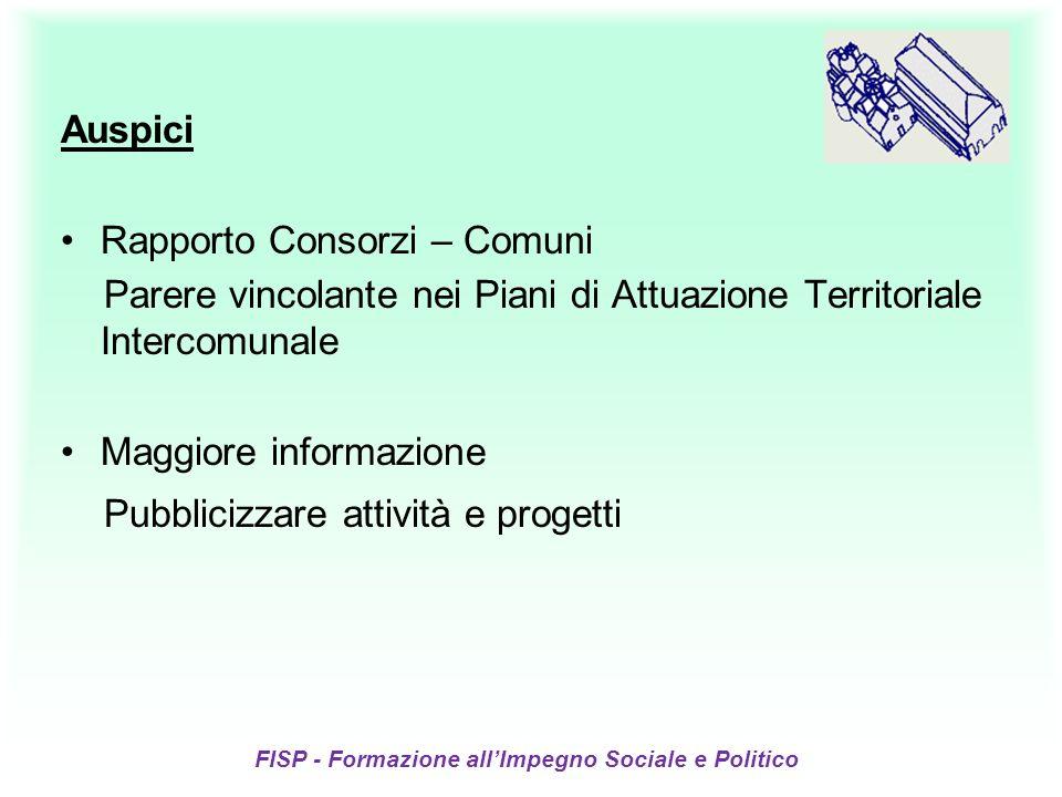 FISP - Formazione allImpegno Sociale e Politico Auspici Rapporto Consorzi – Comuni Parere vincolante nei Piani di Attuazione Territoriale Intercomunal