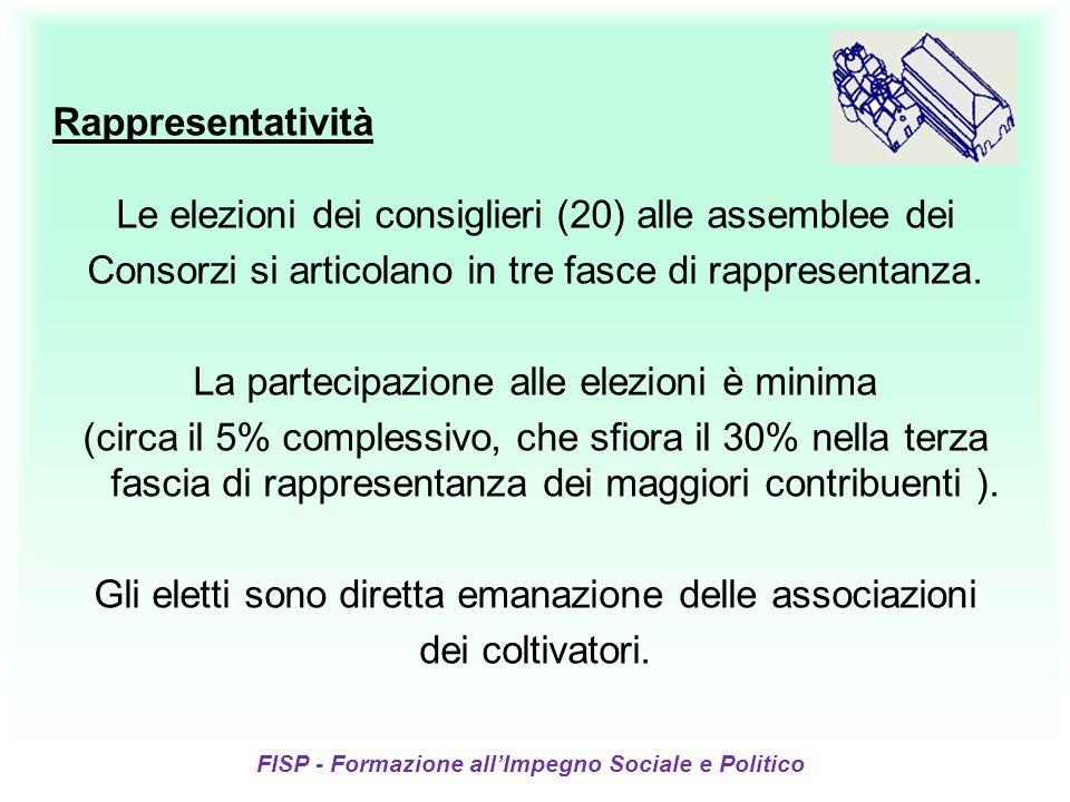 FISP - Formazione allImpegno Sociale e Politico Rappresentatività Le elezioni dei consiglieri (20) alle assemblee dei Consorzi si articolano in tre fasce di rappresentanza.