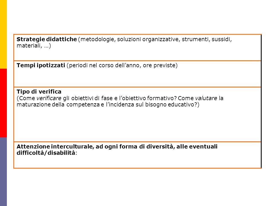 Strategie didattiche (metodologie, soluzioni organizzative, strumenti, sussidi, materiali, …) Tempi ipotizzati (periodi nel corso dellanno, ore previs