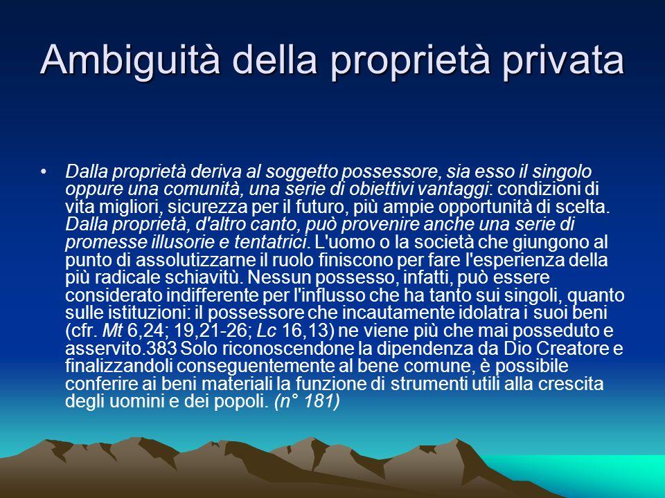 Ambiguità della proprietà privata Dalla proprietà deriva al soggetto possessore, sia esso il singolo oppure una comunità, una serie di obiettivi vanta