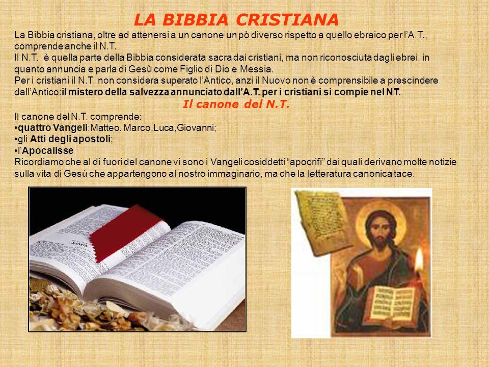 LA BIBBIA CRISTIANA La Bibbia cristiana, oltre ad attenersi a un canone un pò diverso rispetto a quello ebraico per lA.T., comprende anche il N.T. Il