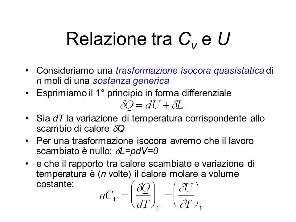 Relazione tra C v e U Consideriamo una trasformazione isocora quasistatica di n moli di una sostanza generica Esprimiamo il 1° principio in forma diff