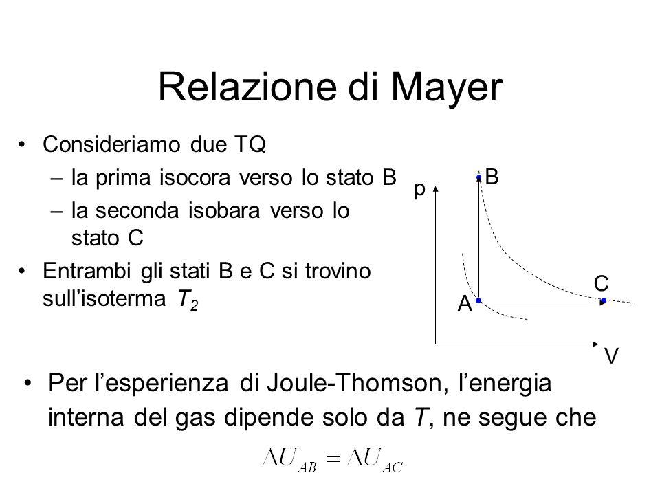 Relazione di Mayer Consideriamo due TQ –la prima isocora verso lo stato B –la seconda isobara verso lo stato C Entrambi gli stati B e C si trovino sul