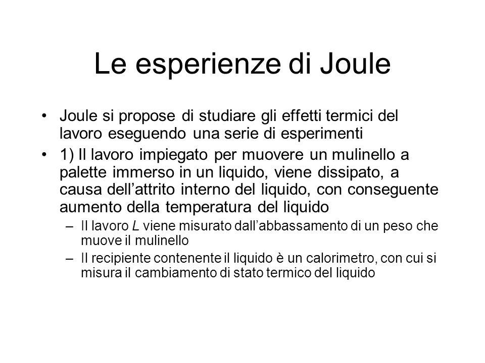 Le esperienze di Joule Joule si propose di studiare gli effetti termici del lavoro eseguendo una serie di esperimenti 1) Il lavoro impiegato per muove