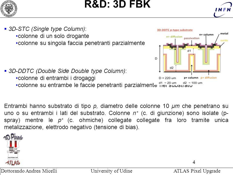 4 Dottorando Andrea Micelli University of Udine ATLAS Pixel Upgrade R&D: 3D FBK 3D-STC (Single type Column): colonne di un solo drogante colonne su si