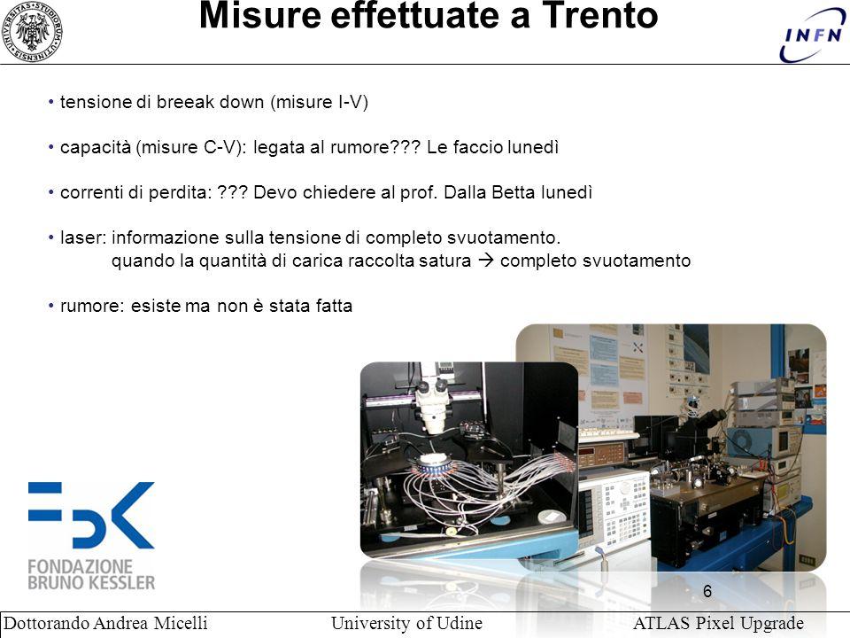 6 Dottorando Andrea Micelli University of Udine ATLAS Pixel Upgrade Misure effettuate a Trento tensione di breeak down (misure I-V) capacità (misure C