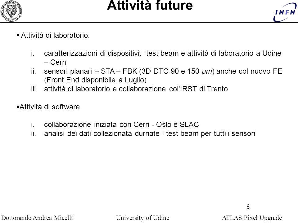 6 Dottorando Andrea Micelli University of Udine ATLAS Pixel Upgrade Attività future Attività di laboratorio: i.caratterizzazioni di dispositivi: test