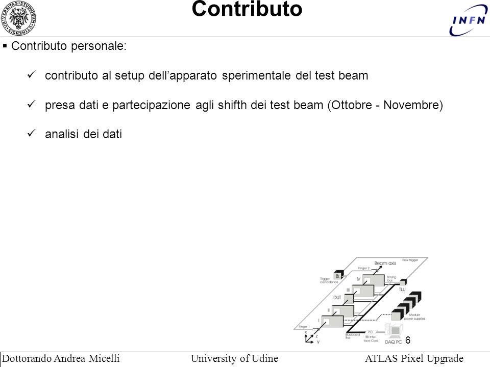 6 Dottorando Andrea Micelli University of Udine ATLAS Pixel Upgrade Contributo Contributo personale: contributo al setup dellapparato sperimentale del