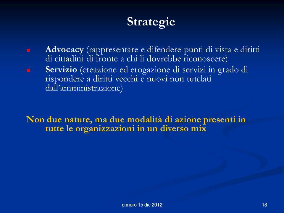 18g.moro 15 dic 2012 Strategie Advocacy (rappresentare e difendere punti di vista e diritti di cittadini di fronte a chi li dovrebbe riconoscere) Serv