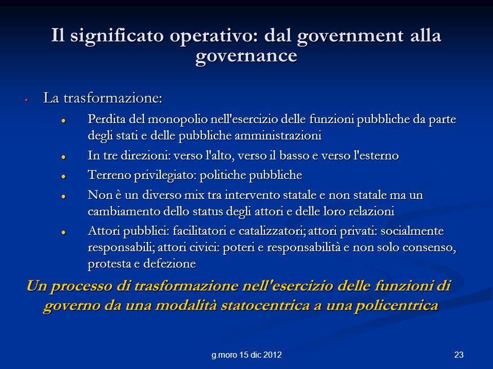 23g.moro 15 dic 2012 Il significato operativo: dal government alla governance La trasformazione: La trasformazione: Perdita del monopolio nell'eserciz