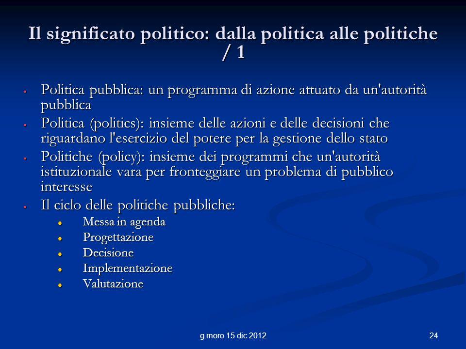 24g.moro 15 dic 2012 Il significato politico: dalla politica alle politiche / 1 Politica pubblica: un programma di azione attuato da un'autorità pubbl