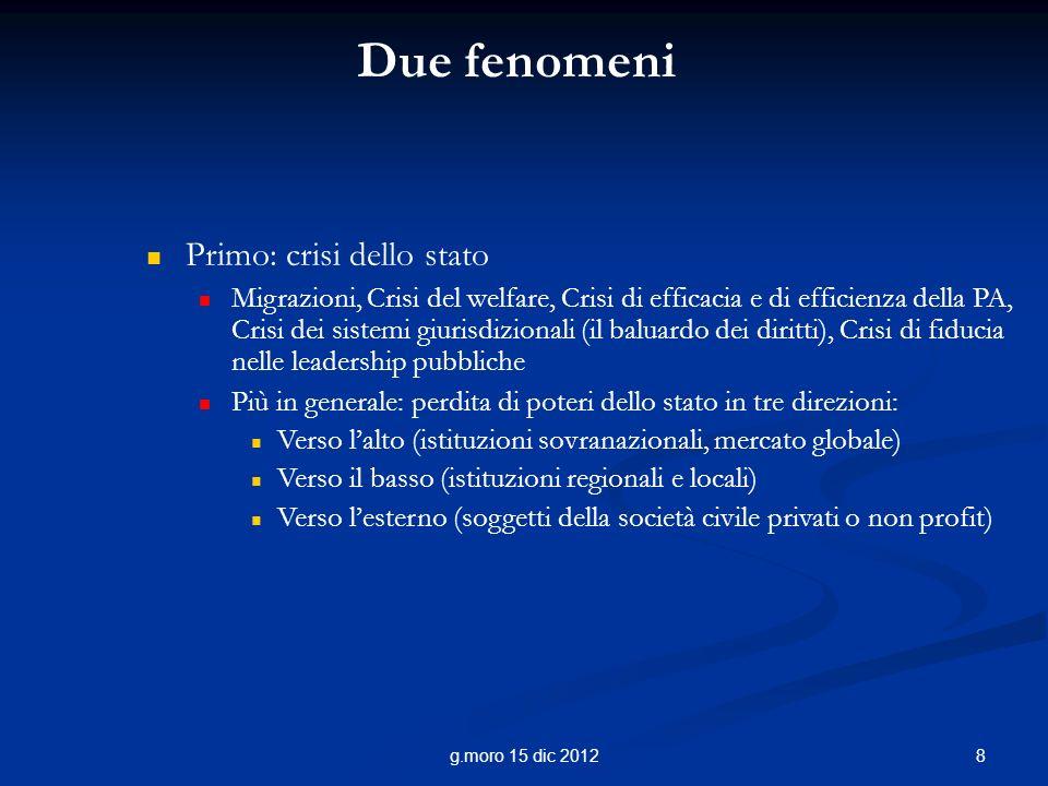 8g.moro 15 dic 2012 Due fenomeni Primo: crisi dello stato Migrazioni, Crisi del welfare, Crisi di efficacia e di efficienza della PA, Crisi dei sistem