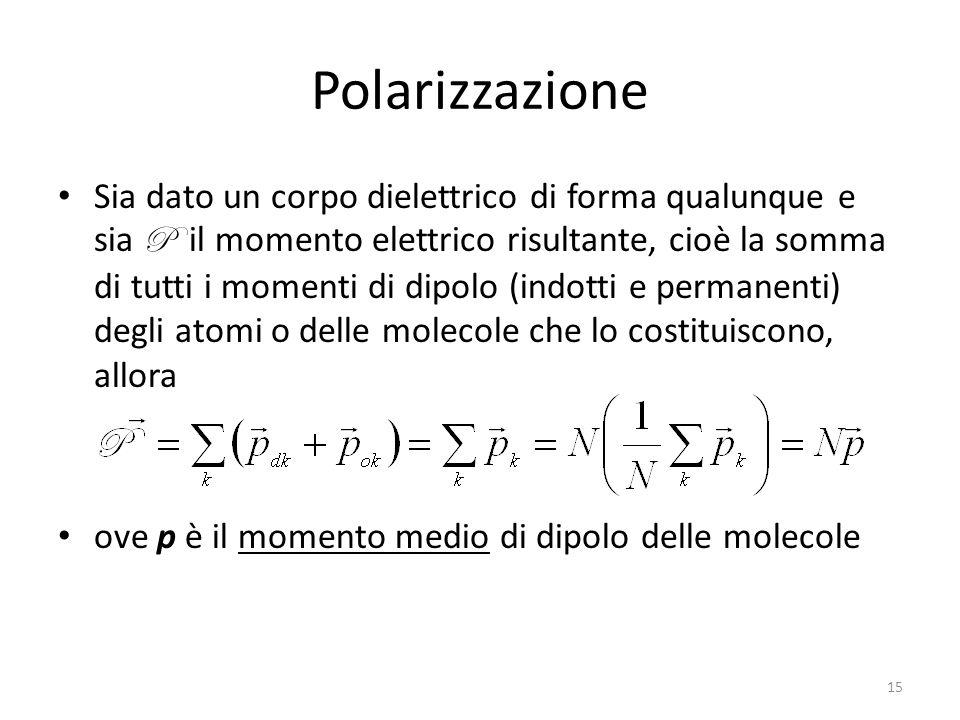 15 Polarizzazione Sia dato un corpo dielettrico di forma qualunque e sia P il momento elettrico risultante, cioè la somma di tutti i momenti di dipolo (indotti e permanenti) degli atomi o delle molecole che lo costituiscono, allora ove p è il momento medio di dipolo delle molecole