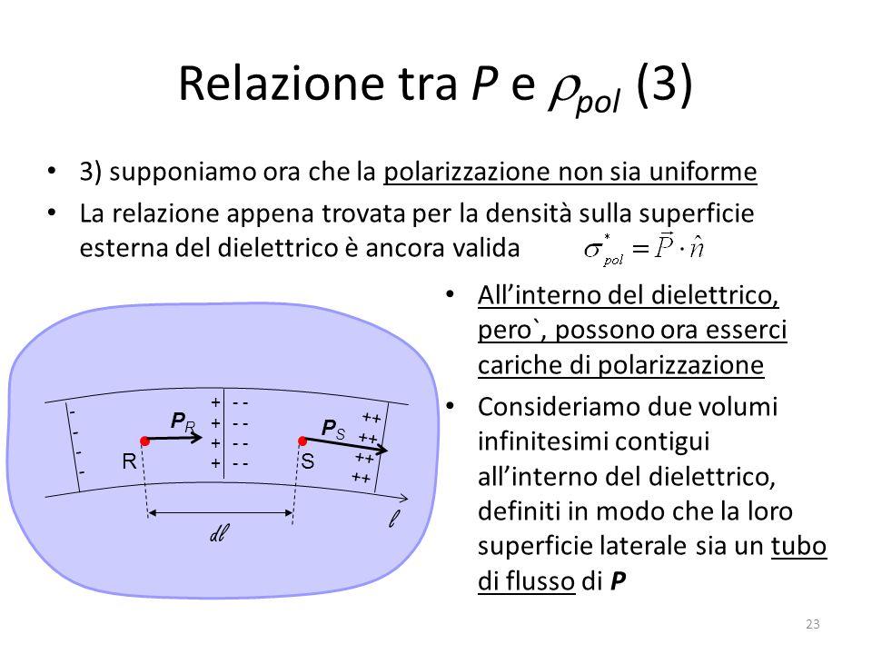 23 Relazione tra P e pol (3) 3) supponiamo ora che la polarizzazione non sia uniforme La relazione appena trovata per la densità sulla superficie esterna del dielettrico è ancora valida Allinterno del dielettrico, pero`, possono ora esserci cariche di polarizzazione Consideriamo due volumi infinitesimi contigui allinterno del dielettrico, definiti in modo che la loro superficie laterale sia un tubo di flusso di P ++++++++ RS PRPR PSPS ++ -------- - l dl