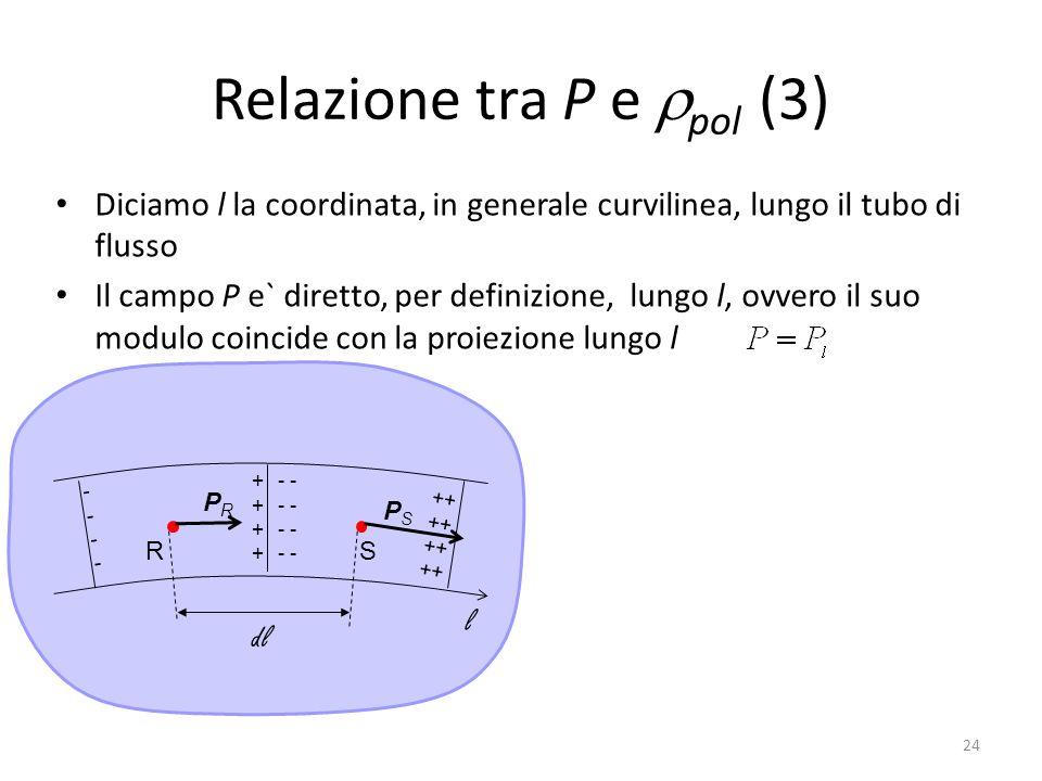 24 Relazione tra P e pol (3) Diciamo l la coordinata, in generale curvilinea, lungo il tubo di flusso Il campo P e` diretto, per definizione, lungo l, ovvero il suo modulo coincide con la proiezione lungo l ++++++++ RS PRPR PSPS ++ -------- - l dl