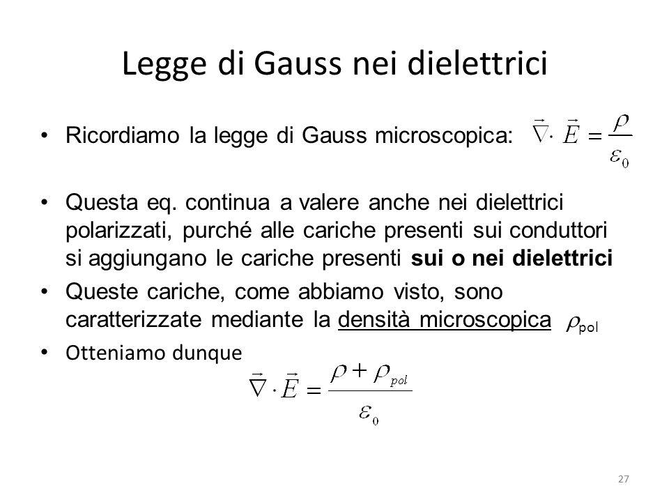 27 Legge di Gauss nei dielettrici Ricordiamo la legge di Gauss microscopica: Questa eq.