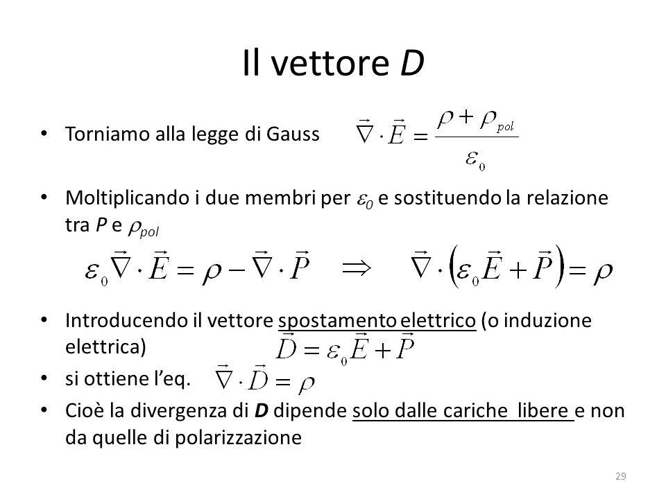 29 Il vettore D Torniamo alla legge di Gauss Moltiplicando i due membri per 0 e sostituendo la relazione tra P e pol Introducendo il vettore spostamento elettrico (o induzione elettrica) si ottiene leq.