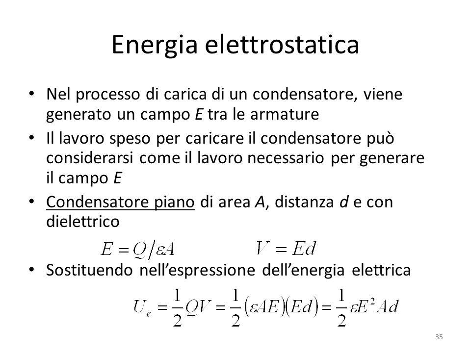 35 Energia elettrostatica Nel processo di carica di un condensatore, viene generato un campo E tra le armature Il lavoro speso per caricare il condensatore può considerarsi come il lavoro necessario per generare il campo E Condensatore piano di area A, distanza d e con dielettrico Sostituendo nellespressione dellenergia elettrica 35
