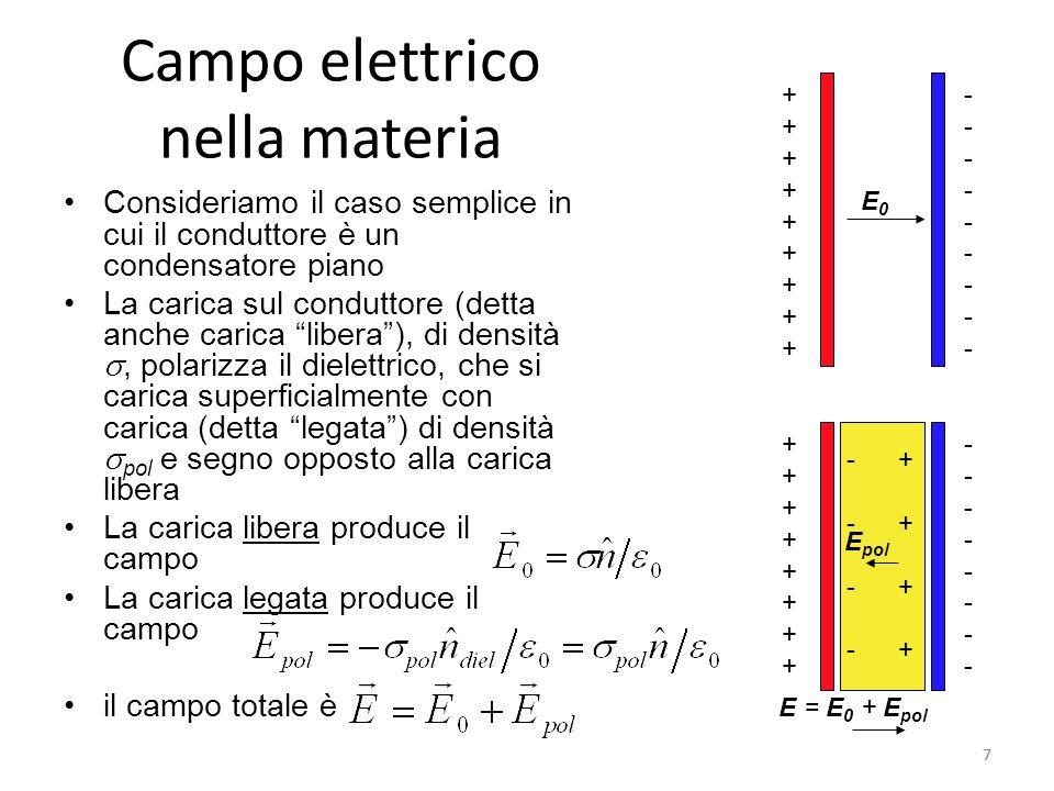8 Campo elettrico nella materia Poiché sappiamo che il campo totale vale possiamo trovare il campo dovuto alla carica legata ove abbiamo introdotto la suscettività Il campo del dielettrico ha verso opposto a quello del conduttore, e modulo inferiore Ne segue che il campo risultante E ha modulo inferiore al campo nel vuoto Ovvero il campo elettrico dovuto alla polarizzazione compensa solo in parte il campo del conduttore 8