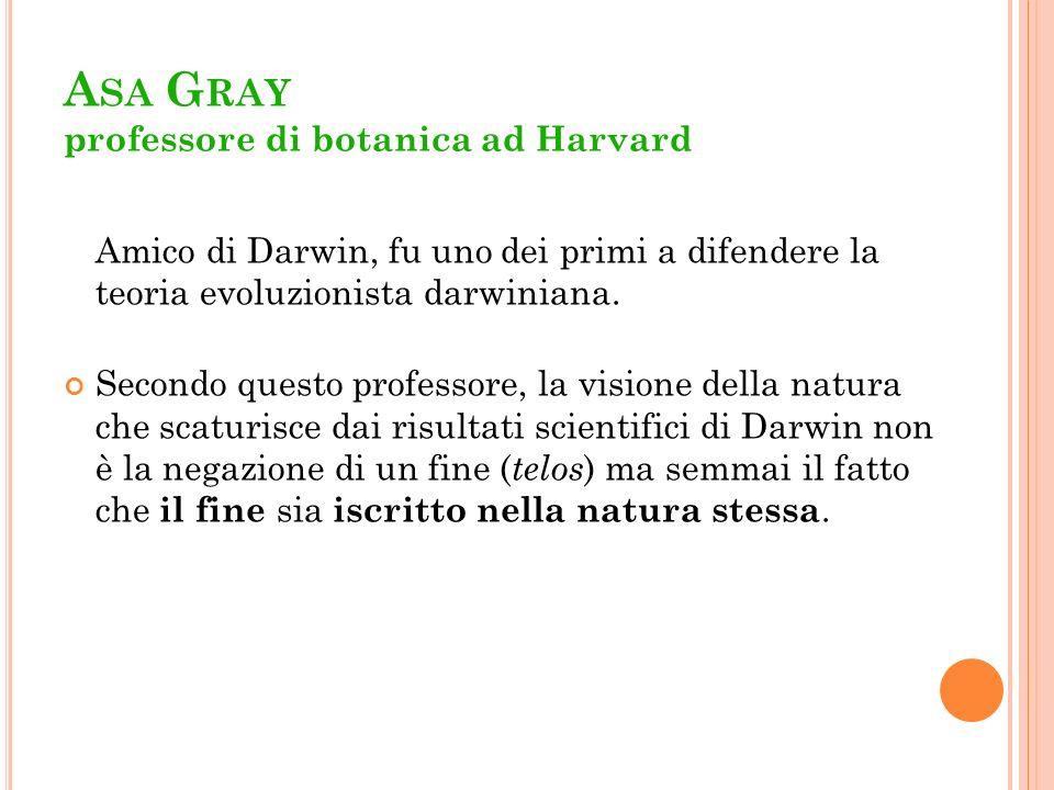 A SA G RAY professore di botanica ad Harvard Amico di Darwin, fu uno dei primi a difendere la teoria evoluzionista darwiniana. Secondo questo professo