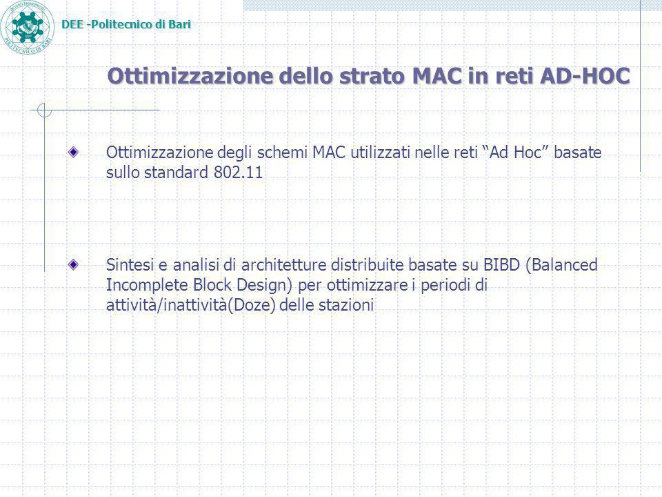 DEE -Politecnico di Bari Ottimizzazione dello strato MAC in reti AD-HOC Ottimizzazione degli schemi MAC utilizzati nelle reti Ad Hoc basate sullo standard 802.11 Sintesi e analisi di architetture distribuite basate su BIBD (Balanced Incomplete Block Design) per ottimizzare i periodi di attività/inattività(Doze) delle stazioni