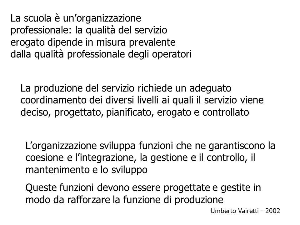 La scuola è unorganizzazione professionale: la qualità del servizio erogato dipende in misura prevalente dalla qualità professionale degli operatori L