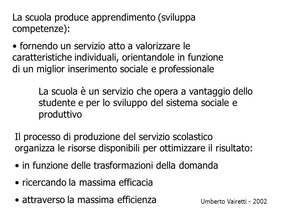 La scuola produce apprendimento (sviluppa competenze): fornendo un servizio atto a valorizzare le caratteristiche individuali, orientandole in funzion
