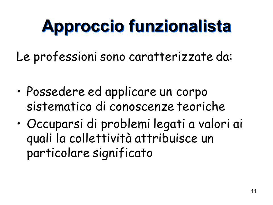 11 Approccio funzionalista Le professioni sono caratterizzate da: Possedere ed applicare un corpo sistematico di conoscenze teoriche Occuparsi di prob