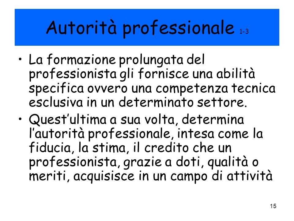 15 Autorità professionale 1-3 La formazione prolungata del professionista gli fornisce una abilità specifica ovvero una competenza tecnica esclusiva i