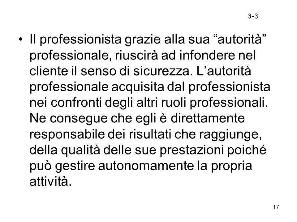 17 Il professionista grazie alla sua autorità professionale, riuscirà ad infondere nel cliente il senso di sicurezza. Lautorità professionale acquisit