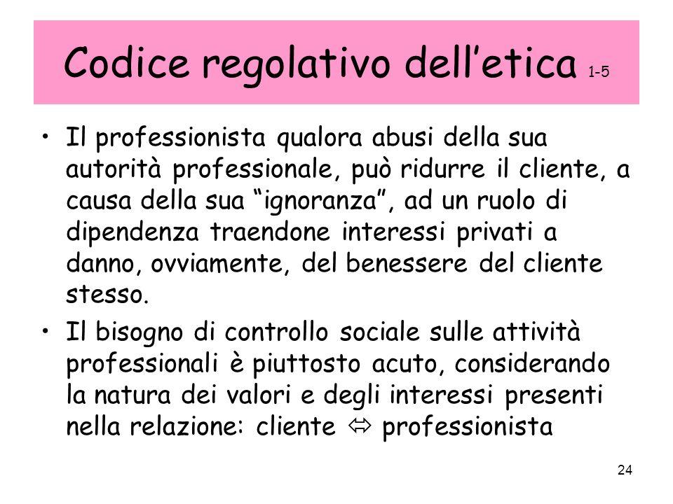 24 Codice regolativo delletica 1-5 Il professionista qualora abusi della sua autorità professionale, può ridurre il cliente, a causa della sua ignoran