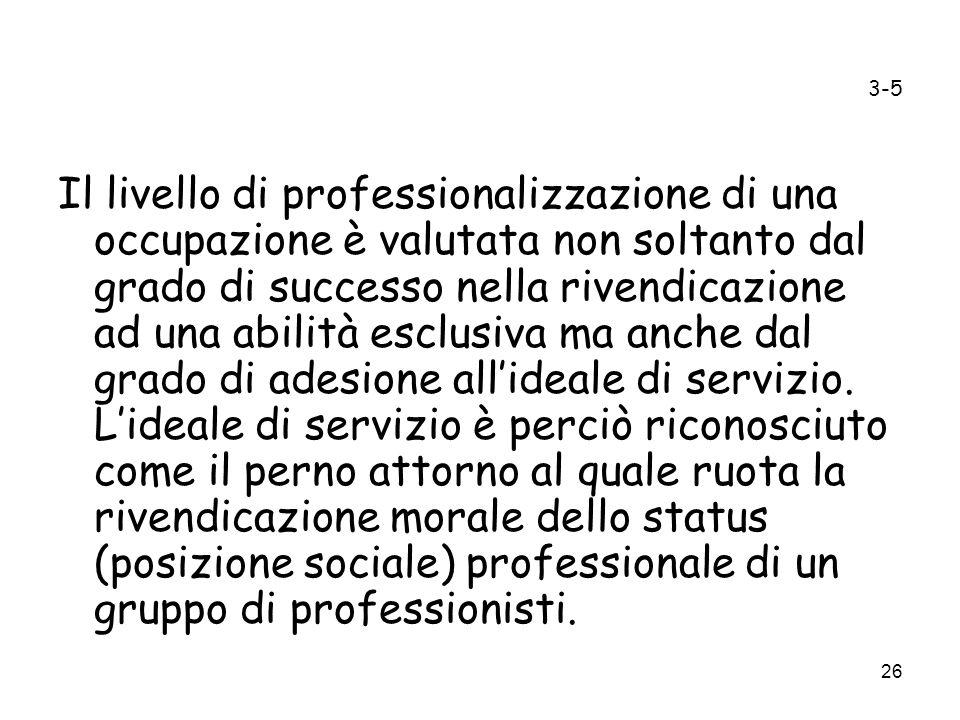 26 3-5 Il livello di professionalizzazione di una occupazione è valutata non soltanto dal grado di successo nella rivendicazione ad una abilità esclus