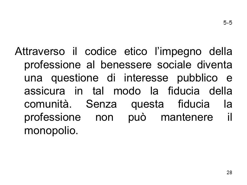 28 5-5 Attraverso il codice etico limpegno della professione al benessere sociale diventa una questione di interesse pubblico e assicura in tal modo l