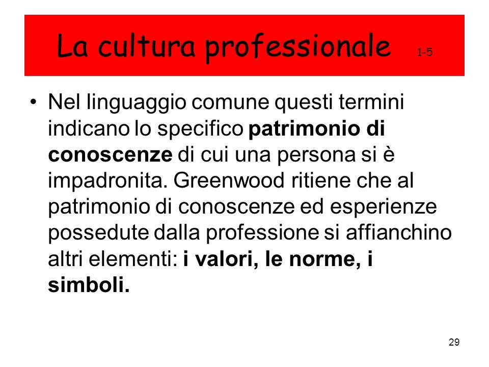 29 La cultura professionale 1-5 Nel linguaggio comune questi termini indicano lo specifico patrimonio di conoscenze di cui una persona si è impadronit