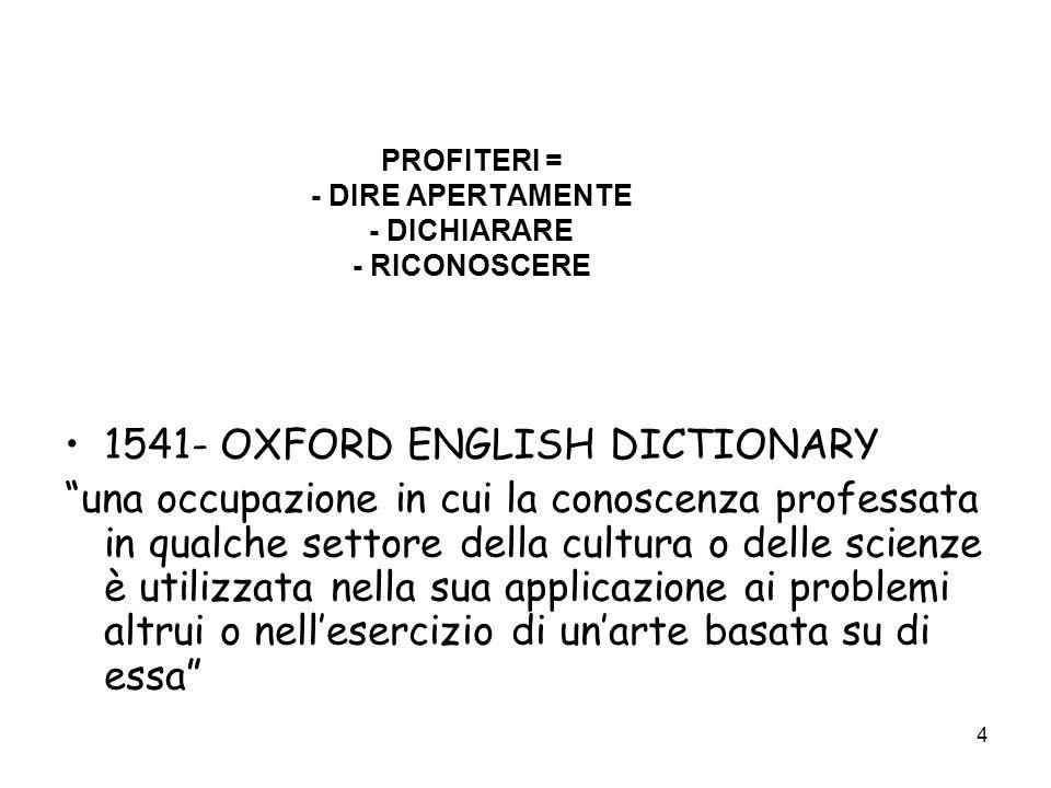 4 PROFITERI = - DIRE APERTAMENTE - DICHIARARE - RICONOSCERE 1541- OXFORD ENGLISH DICTIONARY una occupazione in cui la conoscenza professata in qualche