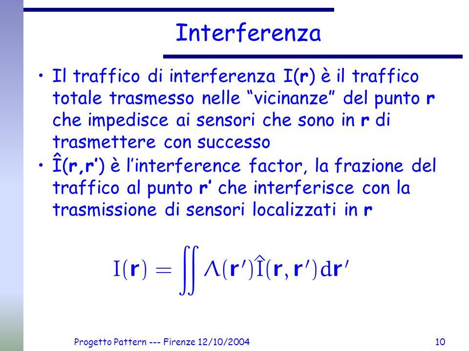 Progetto Pattern --- Firenze 12/10/200410 Interferenza Il traffico di interferenza I(r) è il traffico totale trasmesso nelle vicinanze del punto r che